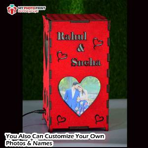 Personalized Heart Red Velvet Photo Shadow Box Electric Night Lamp #1970