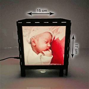 Photo Velvet Shadow Box with Multicolour Electric Night Lamp
