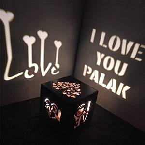 Love Wooden Shadow Box Night with Electric Night Lamp