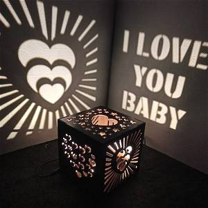 Full of Hearts Wooden Shadow Box with Electric Night Lamp 2
