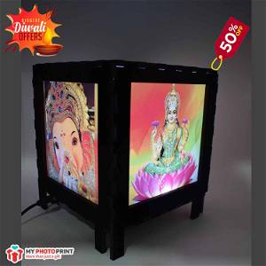 Shubh Labh  Photo Velvet Shadow Box with Multicolour Electric Night Lamp