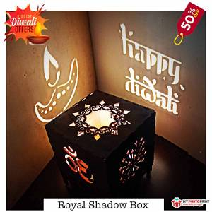 Diwali Royal Wooden Shadow Box Electric night Lamp