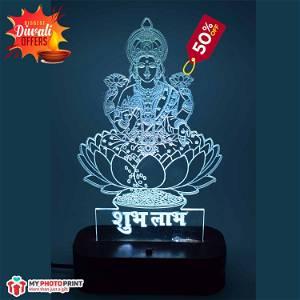 Maa Laxmi Mata ji Acrylic Lamp / LED Lamp with Color Changing Led and Remote #1321