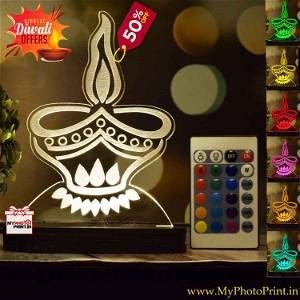Diya Design Acrylic 3D illusion LED Lamp with Color Changing Led and Remote#1407