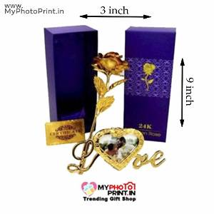 Photo Frame Golden Rose With Stand