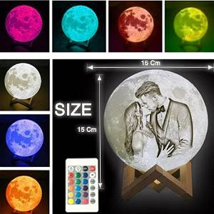 ORIGNAL 3D Printed Moon Lamp Personalized with Text & Photo | Multi Color