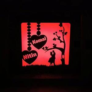 Customized  Wooden Couple Light Box With Your Name