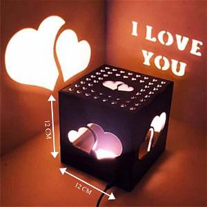 Heart Wooden Shadow Box With Electric Night Lamp