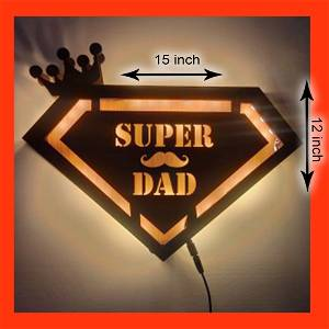 Customized Wooden Super dad Led Frame With Your Text