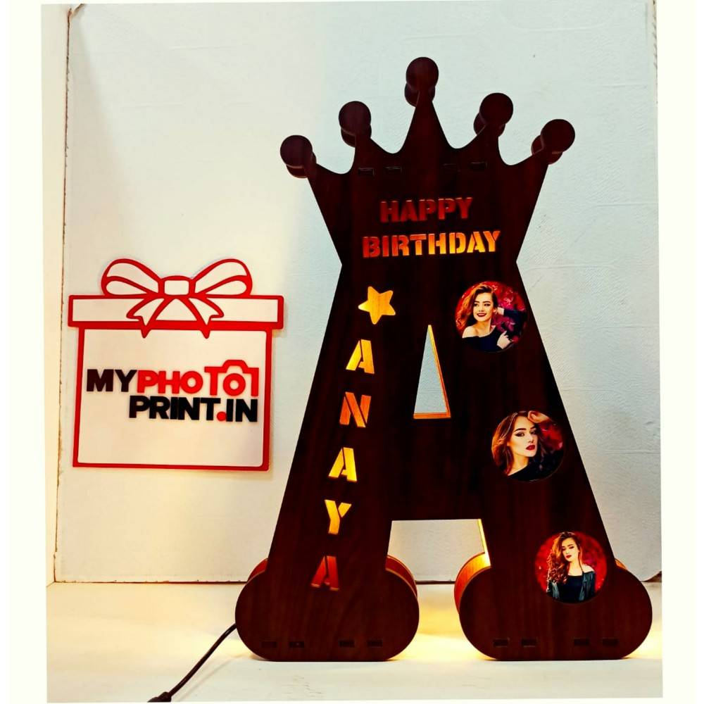 A TO Z Alphabet Big Wooden Name Board With three Photos