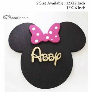 Your Name or Text Mini Mouse Wooden Frame Wall Hanging (Micky Tie)