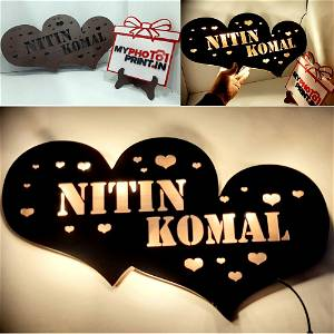Heart Wooden Name Board
