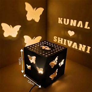 Butterfly Wooden Shadow Box With Electric Night Lamp