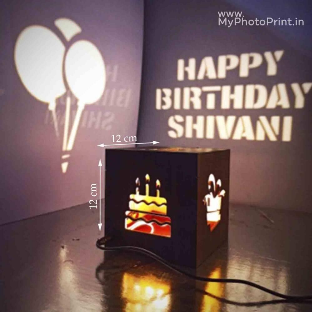 Happy Birthday Electric Wooden Shadow Box for Father, Boyfriend, Him