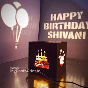 Happy Birthday Wooden Shadow Box With Electric Night Lamp