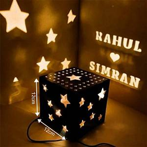 Star Wooden Shadow Box With Electric night Lamp