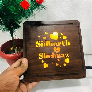Customized couple name heart wooden light box