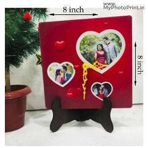 Customized Heart Design Photo Table Clock With 2 Photos