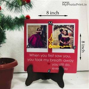 Customized Photo Table Clock 2 Photos | Your Message On it
