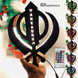 khanda sahib Religious name board Multicolor Led and Remote #971