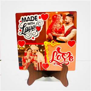 Customized Photo Table Clock | 2 Photos & Awesome Design Text