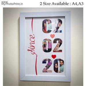 Date With Photos Couple Customized & Personalized White Frame
