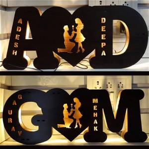 A TO Z Alphabetic Initial Wooden Name Board With 7 Different Lights and Remote