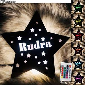 Customized Wooden Star With Your Name Multicolor Led and Remote #1004