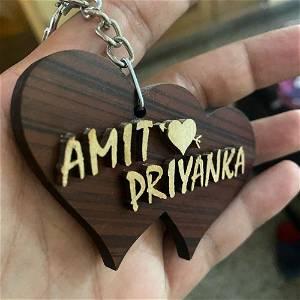 Customized  STYLISH Wooden Name Keychain