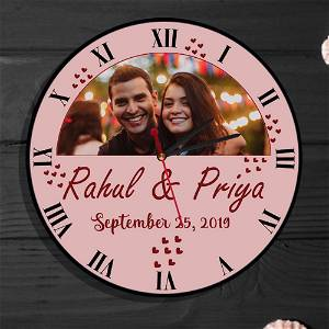 Personalised Photo Wall Clock | With Photo & Names