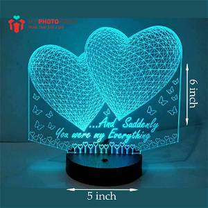 2 Hearts Acrylic 3D illusion LED Lamp with Color Changing Led and Remote #2400
