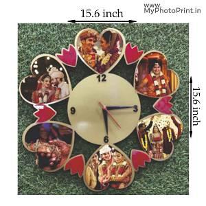 Personalised Photo Heart Design Wall Clock | 6 Photos