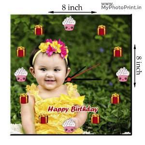 MyPhotoPrint Photo Wall Clock | Happy Birthday Theme