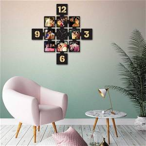 MyPhotoPrint Gold Photo Clock Frame Collage 8 Photos Your Text OR Name