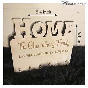 Engraved  Family Name Key Holder