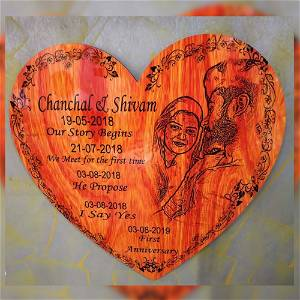 WOODEN ENGRAVE WITH HEART PHOTO
