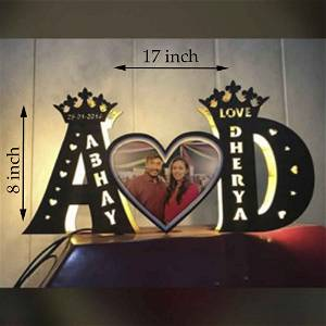 Alphabetic A TO Z Wooden Name With Photo Multicolor Led and Remote #1144