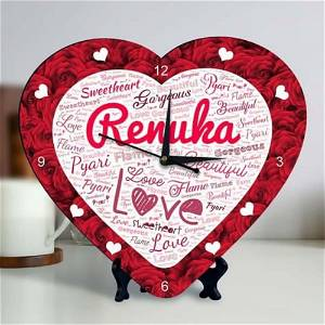 Customized Heart Shape Clock With Name
