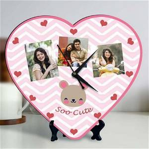 Heart Cut Clock With 3 Photo