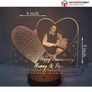 Photo with Heart & Butterfly Acrylic 3D illusion LED Lamp with Color Changing Led and Remote #2528