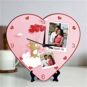 Heart Clock With 2 Photo