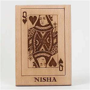 Wooden Queen Playing Card
