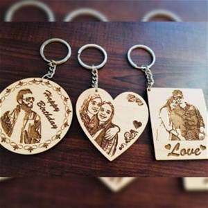 Engraved Wooden Photo KEYCHAIN | Personalized Photo KEYCHAIN Online