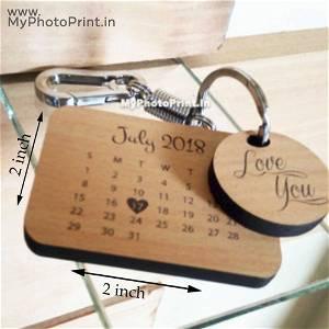 Engraved Calendar Keychain Wooden
