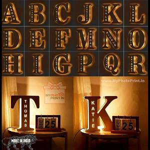 Personalized A TO Z ALPHABET Custom Wooden Engraved Name Wall Night Lights