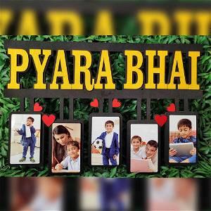 Personalized Pyara Bhai Wooden Photo Frame Collage 5 Photos