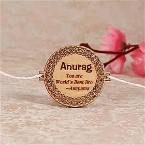 Personalized Wooden Engrave Raksha Bandhan Rakhi