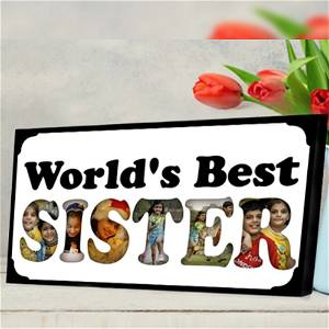 Personalized World's Best Sister Photo Frame 6 photo