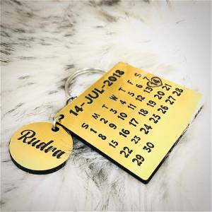 Acrylic Gold Calendar Keychain(We Add Your Month and Date And Add Your Text Also) #122