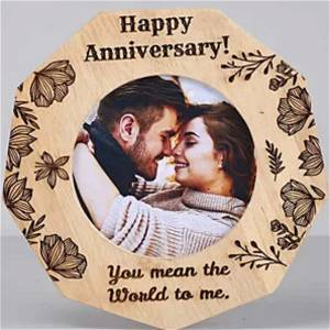 Happy Anniversary Wooden Photo table top